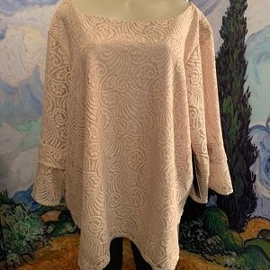 Always Indigo Beige Lace Lined 3/4 Bell Sleeve Top